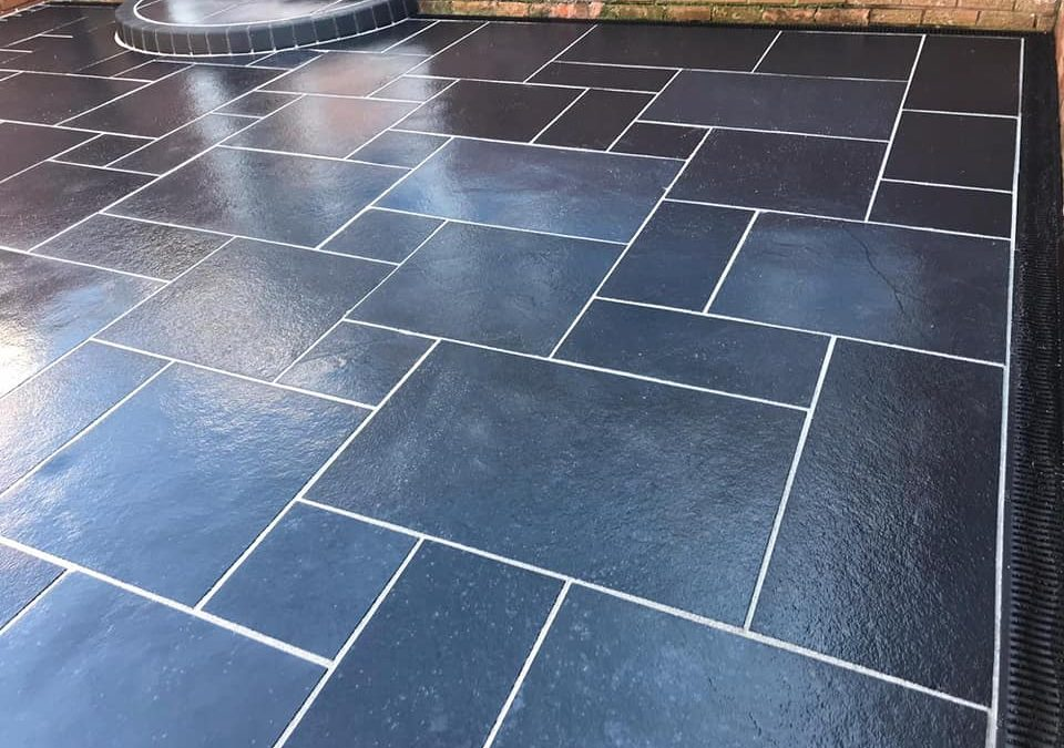 Black Limestone patio completed in Somerset.